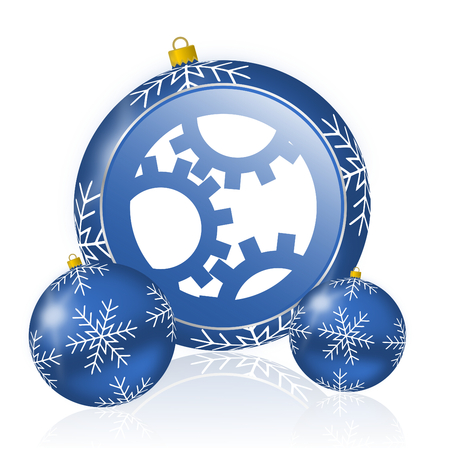 Gear blue christmas balls icon
