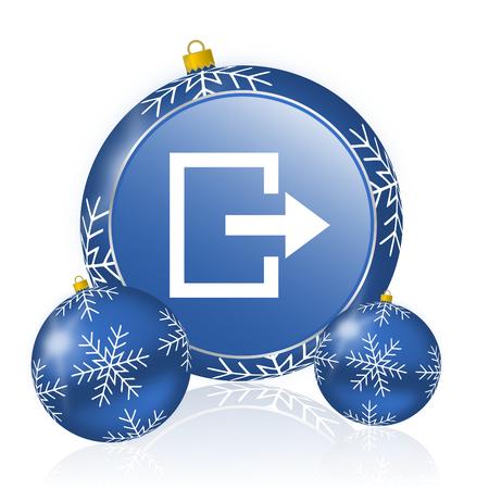 Exit blue christmas balls icon