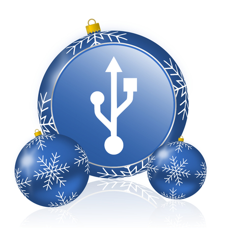 Usb blue christmas balls icon