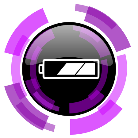Battery pink violet modern design vector web and smartphone icon. Round button in  isolated on white background. Stock Photo