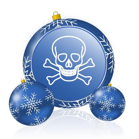 Skull blue christmas balls icon Stock Photo