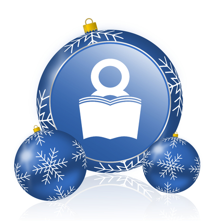 Book blue christmas balls icon