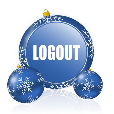 Logout blue christmas balls icon