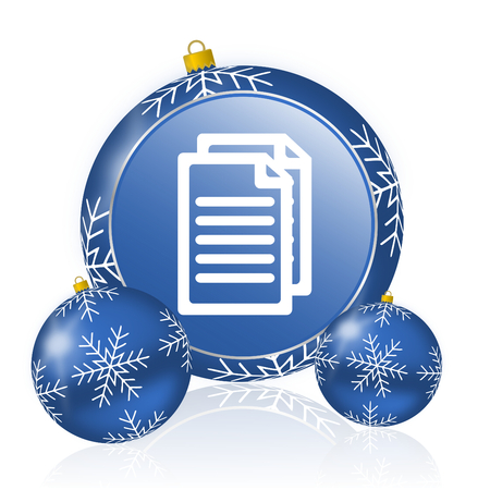 Document blue christmas balls icon