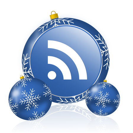 Rss blue christmas balls icon