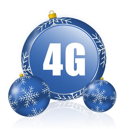 4g blue christmas balls icon