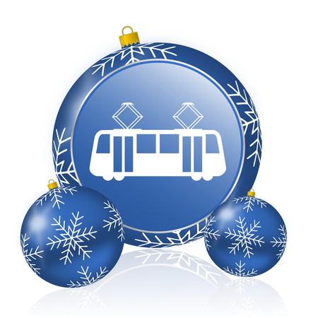 Tram blue christmas balls icon