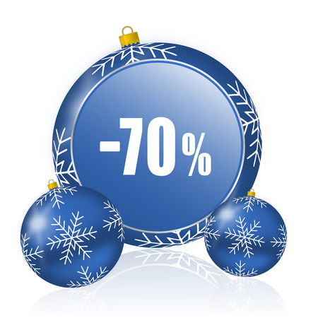 70 percent sale retail blue christmas balls icon