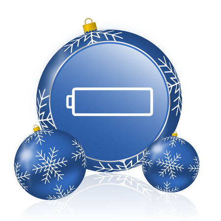 Battery blue christmas balls icon