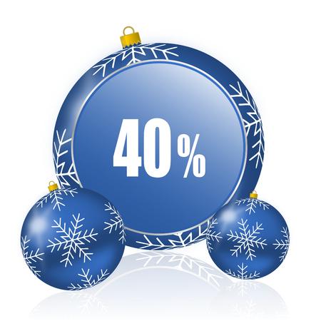 40 percent blue christmas balls icon Stock Photo