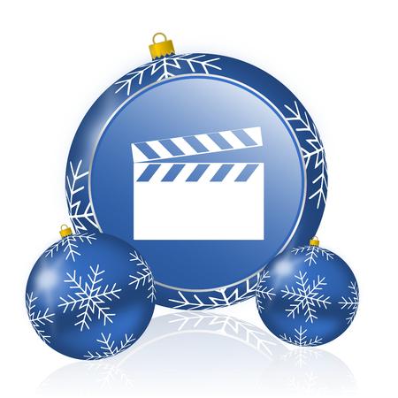 Movie clapper  blue christmas balls icon Stock Photo