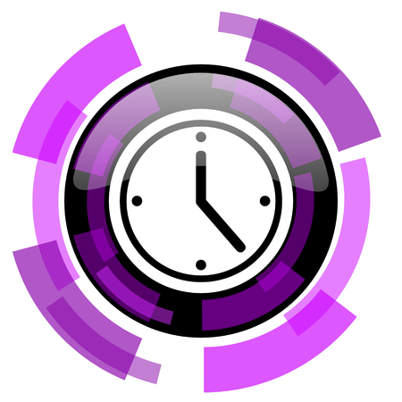 Time pink violet modern design vector web and smartphone icon. Illustration