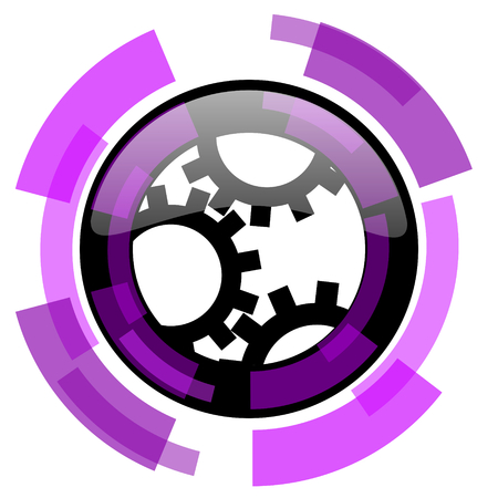Gear pink violet modern design vector web and smartphone icon.
