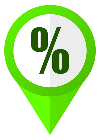 Percent green flat design pointer vector icon in eps 10 isolated on white background Illustration