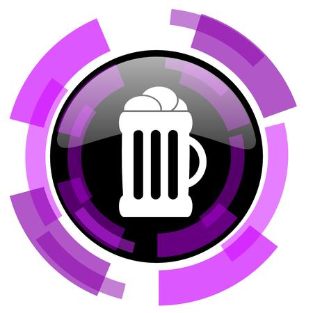 Beer pink violet modern design vector web and smartphone icon. Illustration