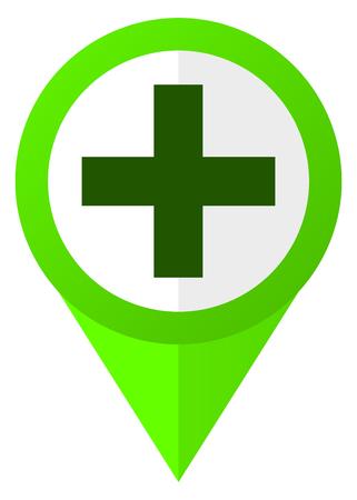 Plus green flat design pointer vector icon