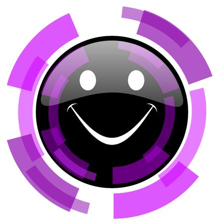 Smile pink violet modern design vector web and smartphone icon.