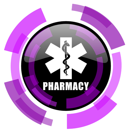 Pharmacy pink violet modern design vector web and smartphone icon.