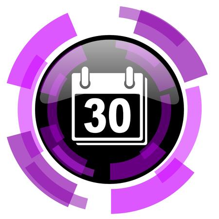 Calendar pink violet modern design vector web and smartphone icon.