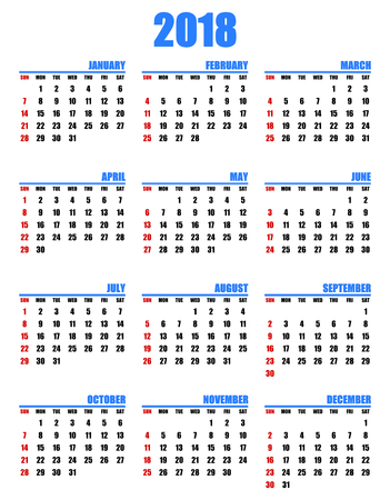첫 번째 빨간색에서 2017 일요일에 대 한 간단한 편집 가능한 벡터 일정