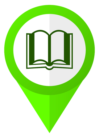 Book green flat design pointer vector icon isolated on white background Stock Photo