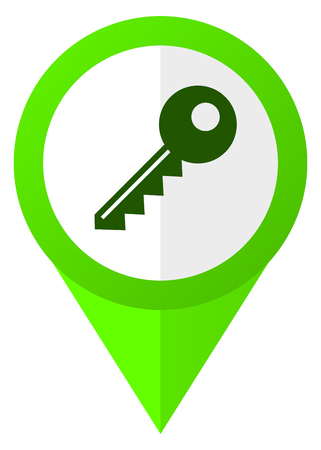 Key green flat design pointer vector icon isolated on white background 스톡 콘텐츠
