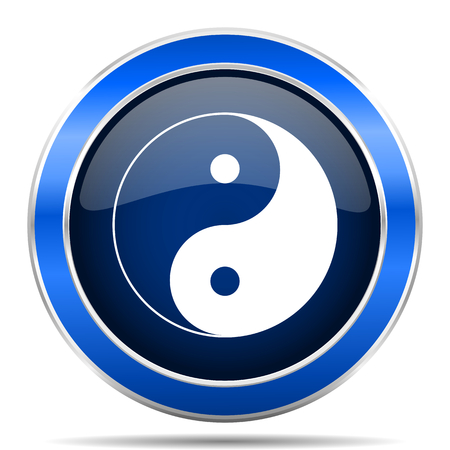 Ying yang blue silver metallic round glossy vector icon. Modern design web and mobile applications button