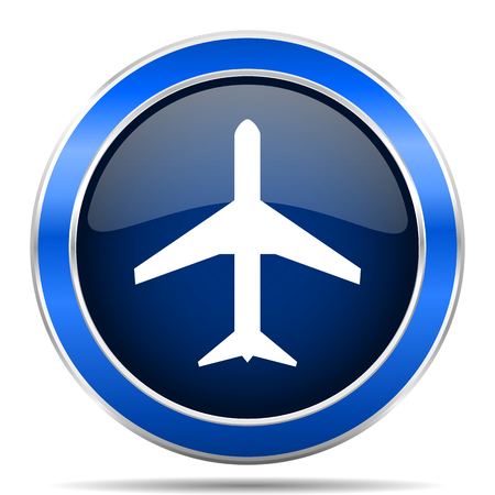 Plane blue silver metallic round glossy vector icon. Modern design web and mobile applications button