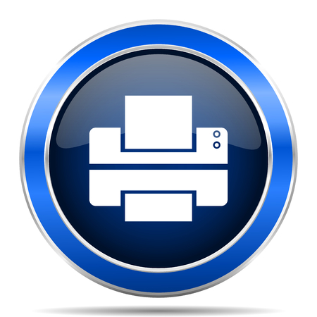 Printer blue silver metallic round glossy vector icon. Modern design web and mobile applications button