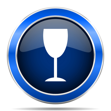 Alcohol blue silver metallic round glossy vector icon. Modern design web and mobile applications button