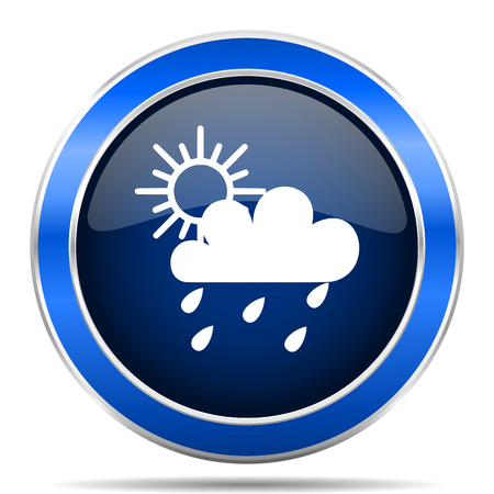 Rain blue silver metallic round glossy vector icon. Modern design web and mobile applications button