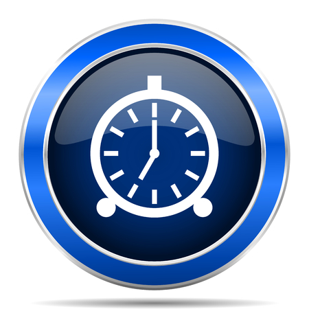 Alarm blue silver metallic round glossy vector icon. Modern design web and mobile applications button