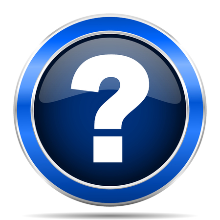 Question mark blue silver metallic round glossy vector icon. Modern design web and mobile applications button Banque d'images