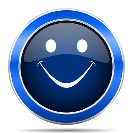 Smile vector icon. Modern design blue silver metallic glossy web and mobile applications button