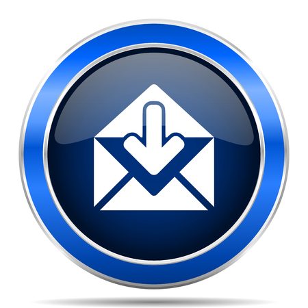 Email vector icon. Modern design blue silver metallic glossy web and mobile applications button Illustration