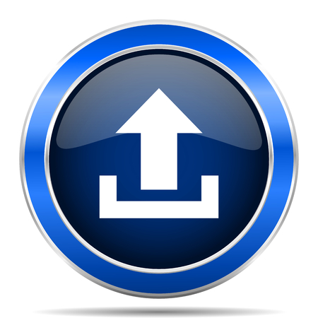 Upload vector icon. Modern design blue silver metallic glossy web and mobile applications button