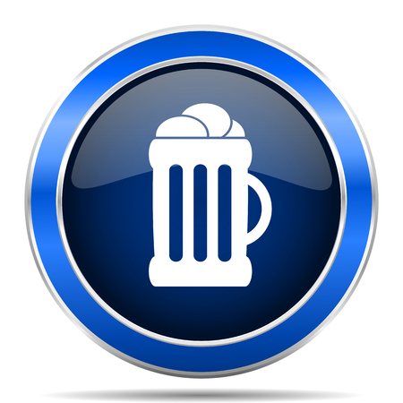Beer vector icon. Modern design blue silver metallic glossy web and mobile applications button