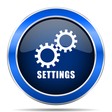 Settings vector icon. Modern design blue silver metallic glossy web and mobile applications button