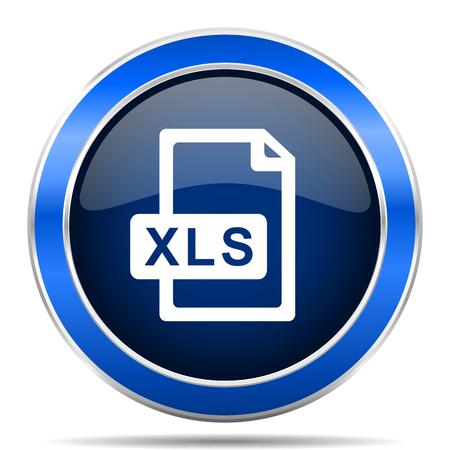 Xls archivo del icono del vector. diseño de la web azul brillante de color gris plata y botones de aplicaciones móviles Foto de archivo - 93023775