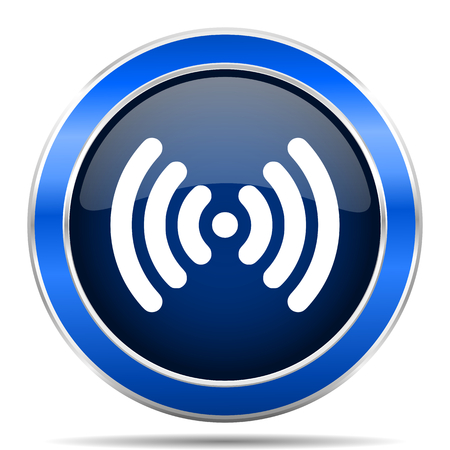 Wifi vector icon. Modern design blue silver metallic glossy web and mobile applications button