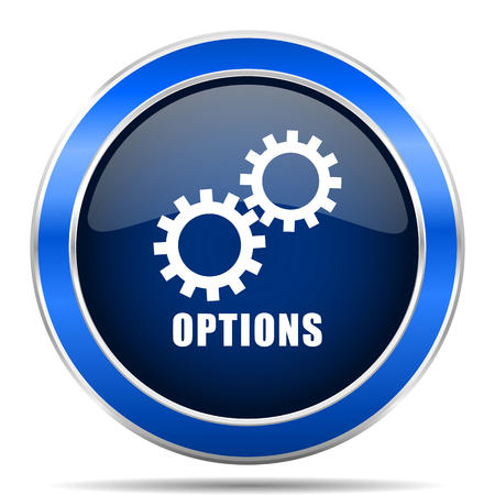 Options vector icon. Modern design blue silver metallic glossy web and mobile applications button