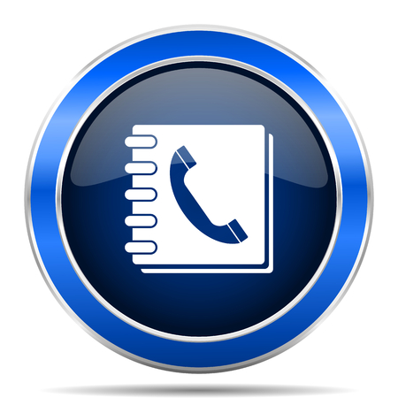 Phonebook vector icon. Modern design blue silver metallic glossy web and mobile applications button