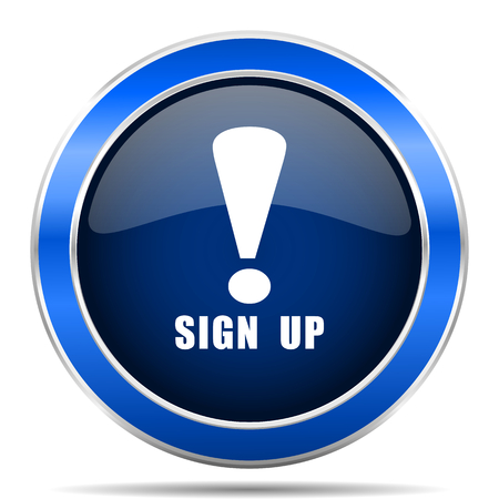 Sign up vector icon. Modern design blue silver metallic glossy web and mobile applications button