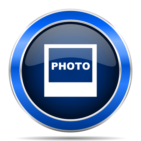 Photo vector icon. Modern design blue silver metallic glossy web and mobile applications button