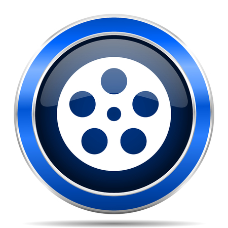 Film vector icon. Modern design blue silver metallic glossy web and mobile applications button