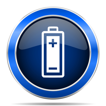 Battery vector icon. Modern design blue silver metallic glossy web and mobile applications button