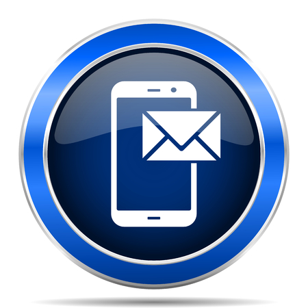 Mail vector icon. Modern design blue silver metallic glossy web and mobile applications button