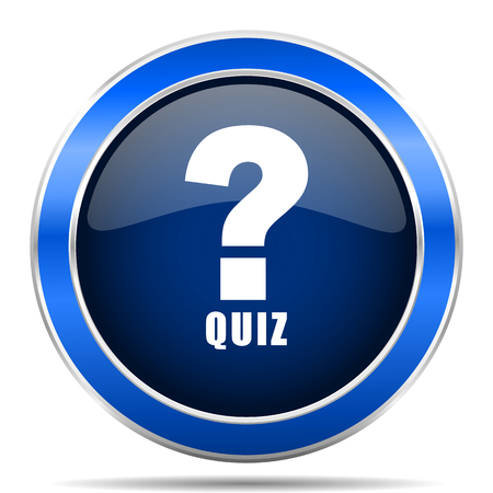 Quiz vector icon. Modern design blue silver metallic glossy web and mobile applications button
