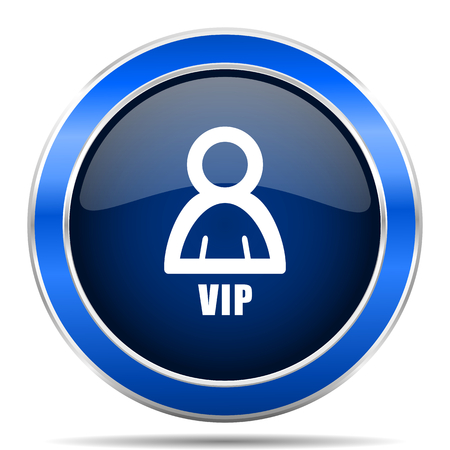 Vip vector icon. Modern design blue silver metallic glossy web and mobile applications button