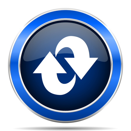 Rotation vector icon. Modern design blue silver metallic glossy web and mobile applications button